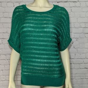 New Directions Green Sweater Small Shimmer